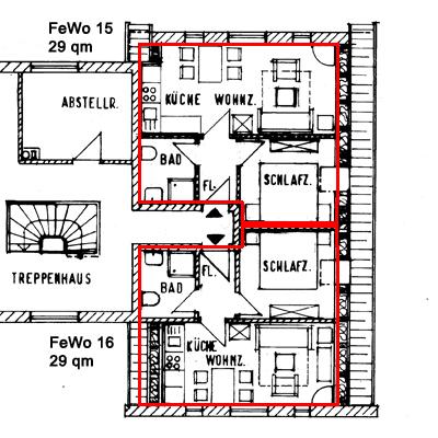 Grundriss der 29qm Wohnungen