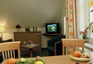 Wohnzimmer und Essplatz der 29qm Wohnung