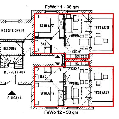 Grundriss der 38qm Wohnungen