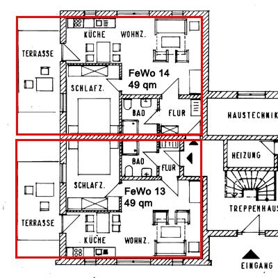 Grundriss der 49qm Wohnungen