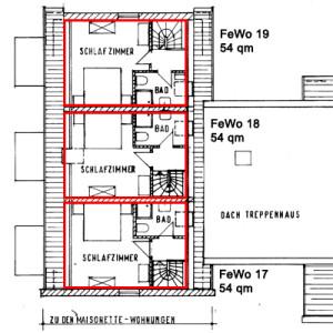 Grundriss der 54 qm Wohnungen